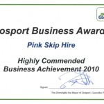 Pink Skips win Highly Commended Business Achievement Award
